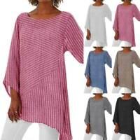 Womens Long Sleeve Linen Loose Blouse Shirt Ladies Stripe Tunic Tops Plus Size