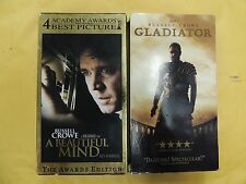 2 Russell Crowe & Best Picture VHS movies: A Beautiful Mind, Gladiator