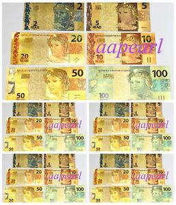 30pcs Brazil Crafts Banknotes Colorful golden paper money (2-100 REAIS 5set )