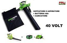 SOFFIATORE ASPIRATORE GREENWORKS 40 VOLT COMPLETO DI BATTERIA 4 AH E CARICATORE