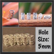 30 Mini Silver Dreadlock Beads Cuffs 4mm Hole (3/16 Inch) + FREE Dread Ring