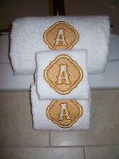 Embossed Monogram Bath Towel Set -Bath ,Hand  and Wash Cloth
