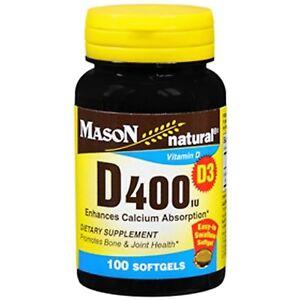 Mason Vitamins Vitamin D 400iu Softgels 100 Count Promotes bone & joint health
