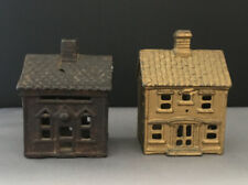 New ListingTwo (2) Antique Cast Iron Still Banks Shaped Like 2 Story Houses With Chimneys