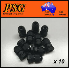 M12 12mm Nylon Cable Glands, Black, Metric Thread, IP68 Waterproof x 10