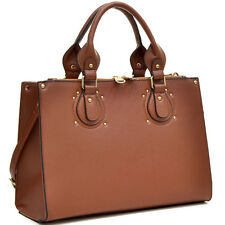 New Womens Handbags Leather Satchels Briefcase Shoulder Bag Padlock Purse Coffee