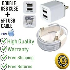 6ft USB Cable + 2.1A Double USB Cube Wall Charger for iPhone 6,6S,SE,7,8,X[H1-6f