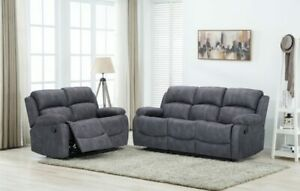 Alaska grey reclining 3 seater and 2 seater sofas