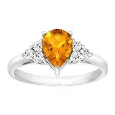 1 1/5 Ct Natural Citrine & White Topaz Ring in Sterling Silver 7 Sm14125cnwtmr7