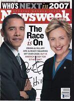 BECKETT BARACK OBAMA & HILLARY CLINTON DUAL SIGNED 2007 NEWSWEEK MAGAZINE Q53197