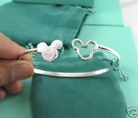 Fashion 925 Silver Filled Cuff Bangle Cartoon Animal Mouse Bracelet Lady Jewelry