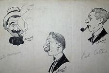 MAURICET (1888-1968) DESSIN ORIGINAL 1921 CARICATURES MARINIER CHEPFER COLLINE
