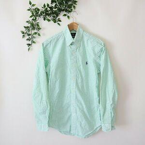 Ralph Lauren Men's Slim Fit Long Sleeve Button Front Shirt XS Green Check