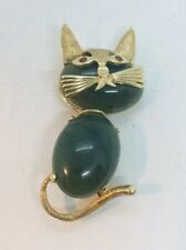 Vintage 14k Yellow Gold Nephrite Jade Ruby Eyes Cat Pin