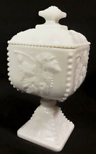 Westmoreland Paneled Grape Beaded Pedestal Milk Glass Candy Dish / Urn