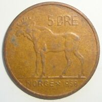 1958 NORWAY 5 ORE WORLD COIN