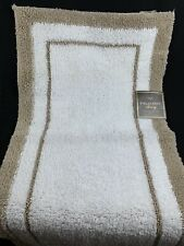 Fieldcrest Luxury Microfiber Accent Rug 19.3 In. x 34 In. White with Tan Border