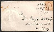 USA SCOTT #26 ORANGE BROWN STAMP FREEHOLD NEW JERSEY PATRIOTIC COVER 1860