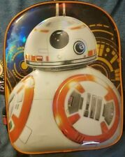 """New Star Wars BB8 The Force Awakens LED Light-Up Backpack 16"""" Glossy Look, Kids"""