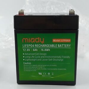 2000 Cycles 12V 6Ah Miady Lithium Iron Phosphate Battery, Rechargeable LiFePo4