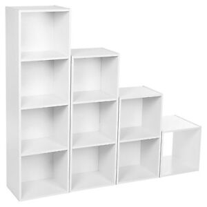 WOODEN CUBE, 2-3-4 TIER STURDY BOOK CASE DISPLAY STORAGE SHELVING UNIT WHITE