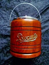 More details for early 20th century treen oak & chrome biscuit jar with porcelain insert.