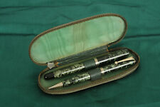 Parker Televisor Fountain Pen and Pencil Set MK1, 1937, Slender, Green Striated