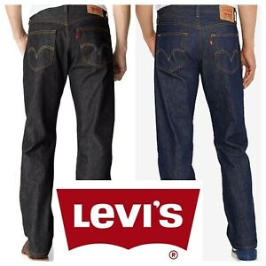 Levis 501 Original Shrink To Fit Button Fly Jeans Rigid Blue Black Jeans New