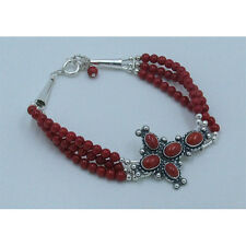 3 Strand 925 Sterling Silver Natural Red Italian Coral Beaded Cross Bracelet