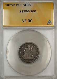 1875-S Seated Liberty Silver 20c Coin ANACS VF-30 (9)