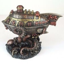 "Steampunk Submarine Vs Octopus Trinket Box Bronze Figurine Miniature 8""L New"