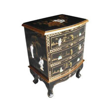 MOTHER OF PEARL ORIENTAL FURNITURE - BLACK LACQUER CHEST OF 3 DRAWERS