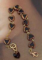 New Metallic Glass Heart Rosary Catholic Religious Bracelet w Crystal Heart #b