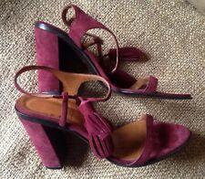 20b9b7955fb3 BALLY Designer Maroon Berry Suede Tasseled Heel Sandals Dark Red Sz 39.5