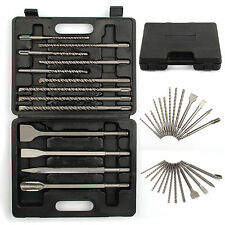 13PC SDS PLUS CHISEL SET FLAT POINT GROOVE GOUGE DRILL MASONARY HAMMER DRILLS