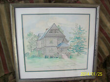 Watercolor & Ink Cottage Style Landscape Scene Painting Framed Under Glass