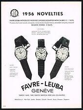 1950s Vintage 1956 Favre Leuba Sea Chief Sea King Raider Swiss Watch Print Ad