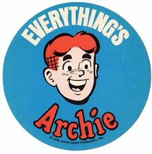 "Vintage 1968 EVERYTHING'S ARCHIE Big 4"" Round Sticker COMIC BOOK CHARACTER Nice"