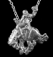 Rodeo Bucking Bronc w/ Rider Pendant with Chain, Sterling Silver, Custom-Made!