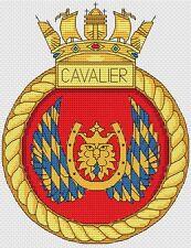 "HMS Cavalier Royal Navy Ship Crest Cross Stitch Design (6x8"",15x20cm,kit/chart)"