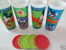 TUPPERWARE DISNEY*MICKEY MOUSE SET OF 4 16 OZ./470 ml TUMBLERS & SEALS*NEW I P*