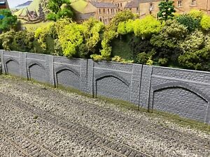 OO Gauge Single Arch Grey Retaining Walls x 5 Sections Model Railway Suit Hornby