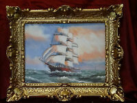Beautiful Painting Pictures Baroque Antique Repro Frame Sail Boat 56x46 cm 84