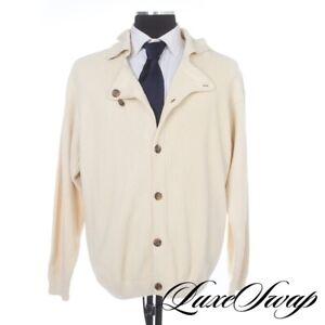 #1 MENSWEAR Giorgio Armani Ivory Ribbed Knit Pub Jacket Cardigan Sweater XL FALL