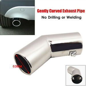 1PC Car Silver Rear Round Muffler Tail Cover Exhaust Pipe Trims Universal 63MM