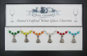 Christmas Tree Wine Glass Charms with Silver Beads Handmade Just for You