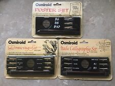 3 Vintage Osmiroid 22ct Gold Plated Nib Calligraphy Drawing Writing Sets