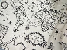 "US Seller - 1 yard vintage retro world map 59"" wide cotton linen fabric"