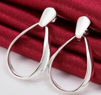 925 Sterling Silver Oval Hoop Drop Dangle Stud Earrings Classic Women's Jewelry