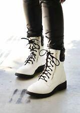 New Mia Maeva Womens White Zip Lace Combat Style Boots US 8 EU 39
